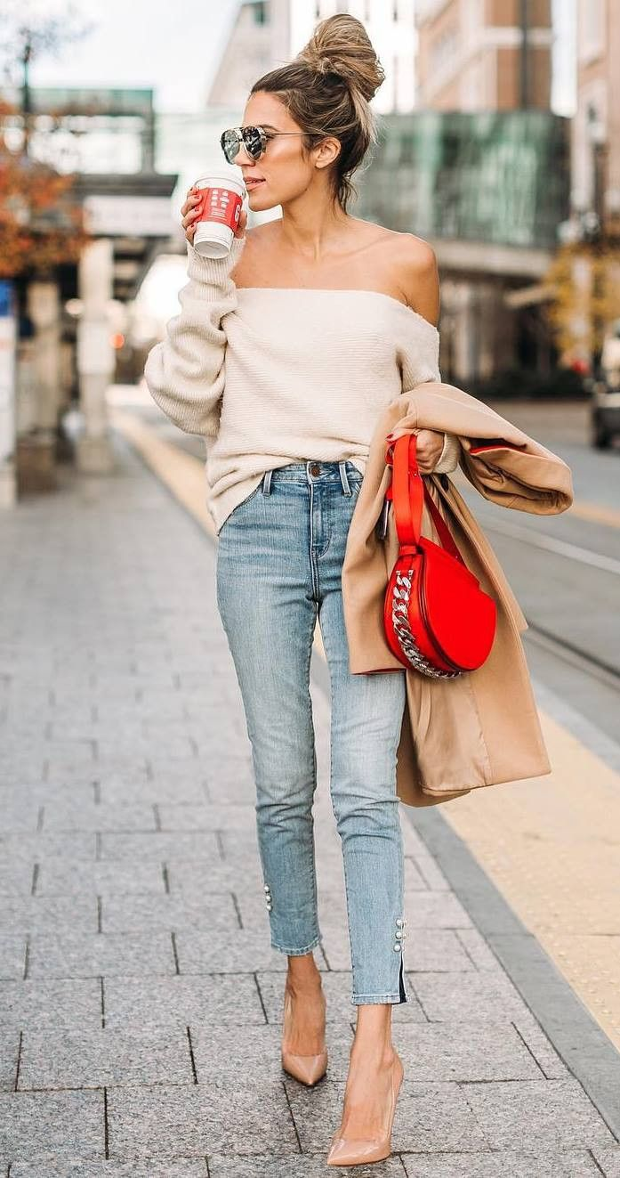 simple fall outfit to copy right now / nude off shoulder sweater red bag coat jeans heels