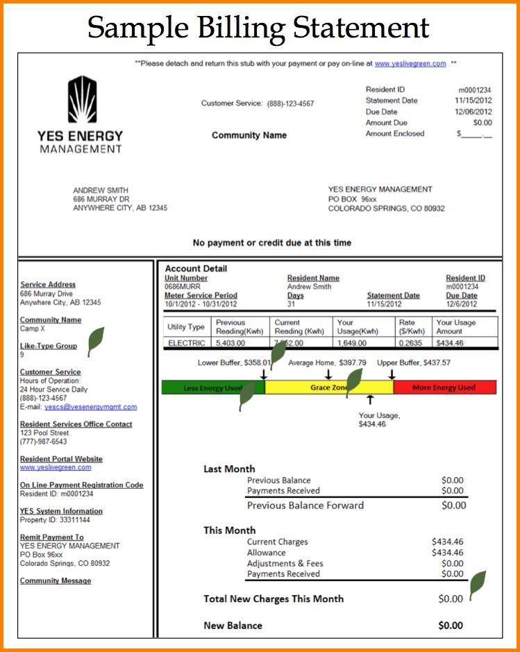 Sample Billing Statements Free Billing Statement Template For - billing statement template