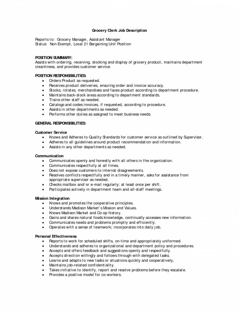 Grocery Clerk Resume Professional Grocery Clerk Templates To - stock clerk job description