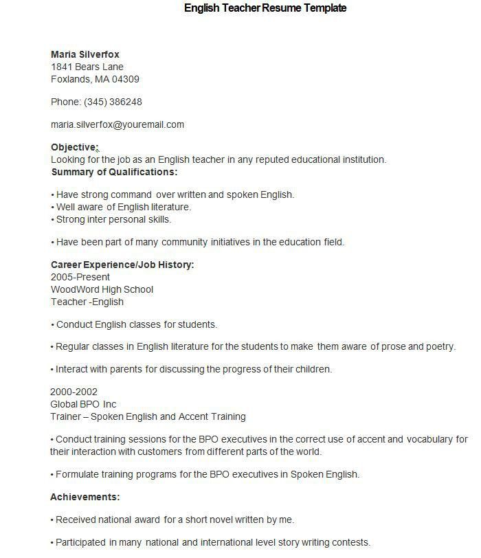 teacher biodata sample of teaching resume teacher resume samples math teacher resume - Teacher Resume Template Free