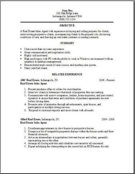 sample resume for real estate agent