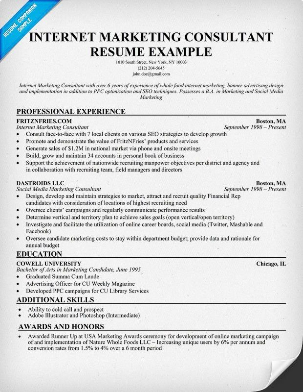 Internet Marketing Consultant Resume Digital
