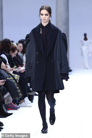 In the navy: The models were clad in over-sized looks...