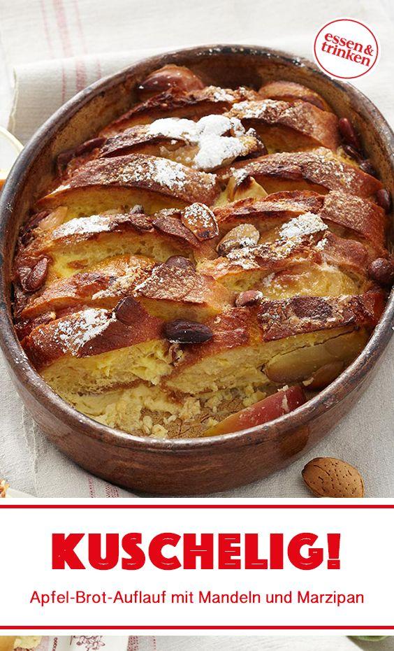 Rezept für Apfel-Brot-Auflauf mit Mandeln und Marzipan