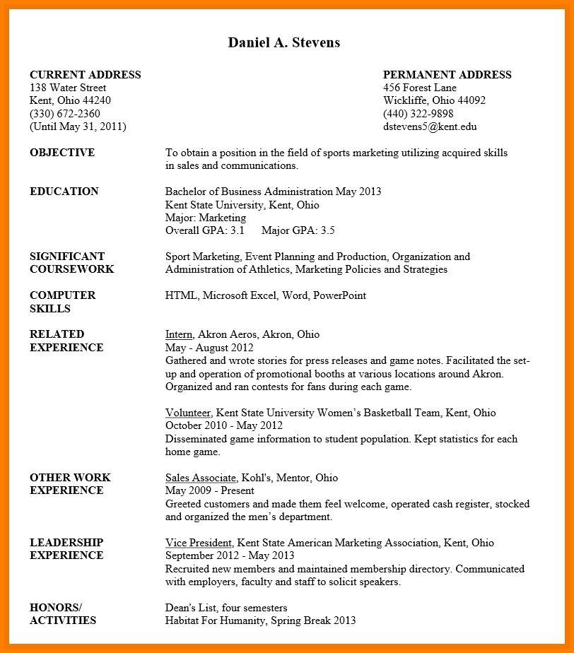 undergraduate student resume sample resume template for - Resume Undergraduate Student Internship