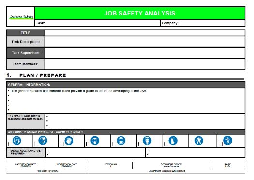 ... Job Safety Analysis Template Job Safety Analysis Template 6 Free   Jsa  Form Template ...  Job Safety Analysis Template