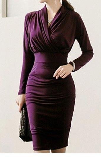 Classy office purple dress