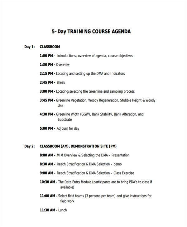 training agenda template free