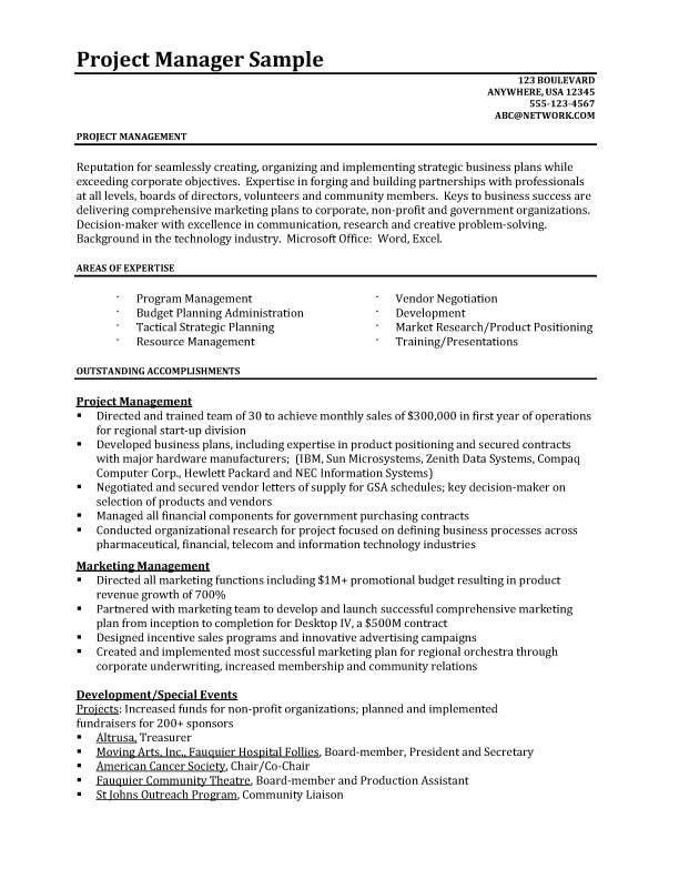 Project Resume Example Project Manager Cv Template Construction