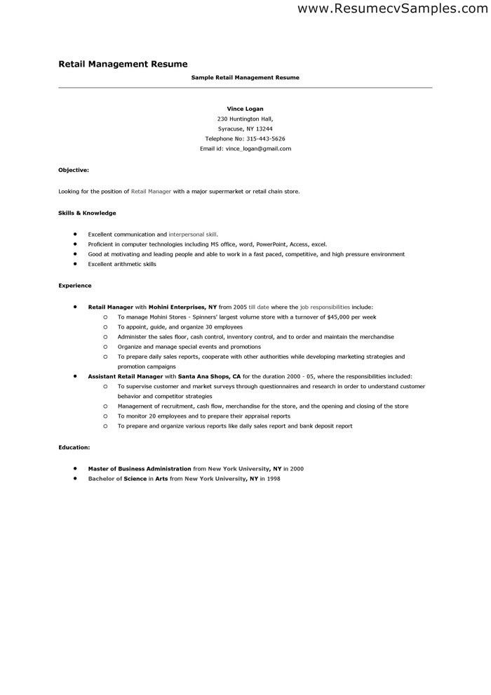 Resume Examples For Retail Associate - Examples of Resumes