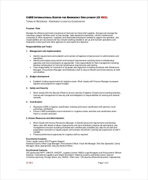 Procurement Specialist Job Description Top 10 Procurement - logistics coordinator job description
