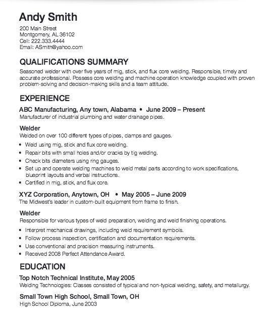 Sample Resume For Welder Unforgettable Welder Resume Examples To - resume for welder