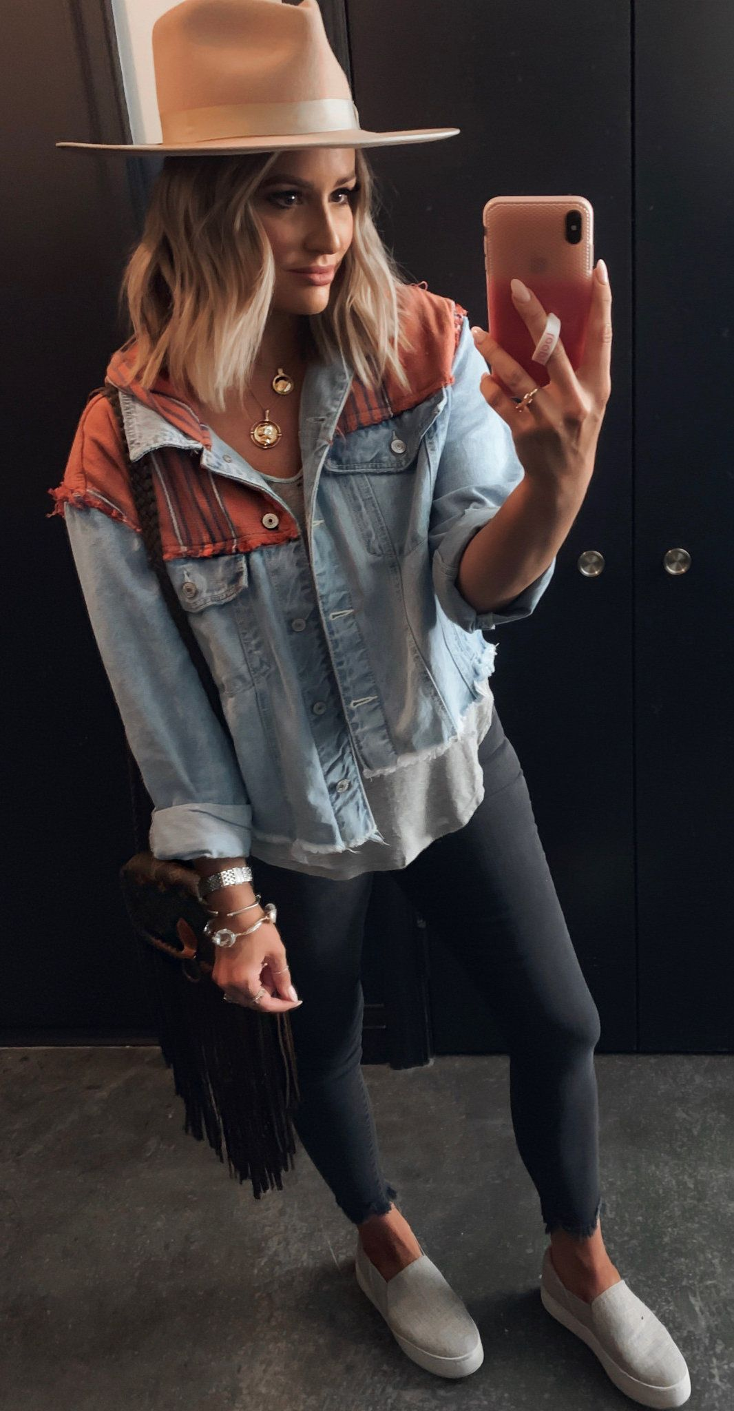 blue and brown denim jacket #summer #outfits