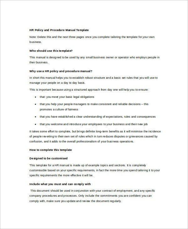 Hr Manual Template. Writing A Standard Operating Procedure Sop .