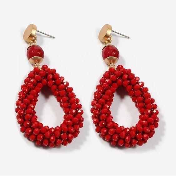 Glam long red earrings