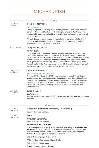 ... Resume Computer Technician Unforgettable Computer Repair - pc  technician resume ...