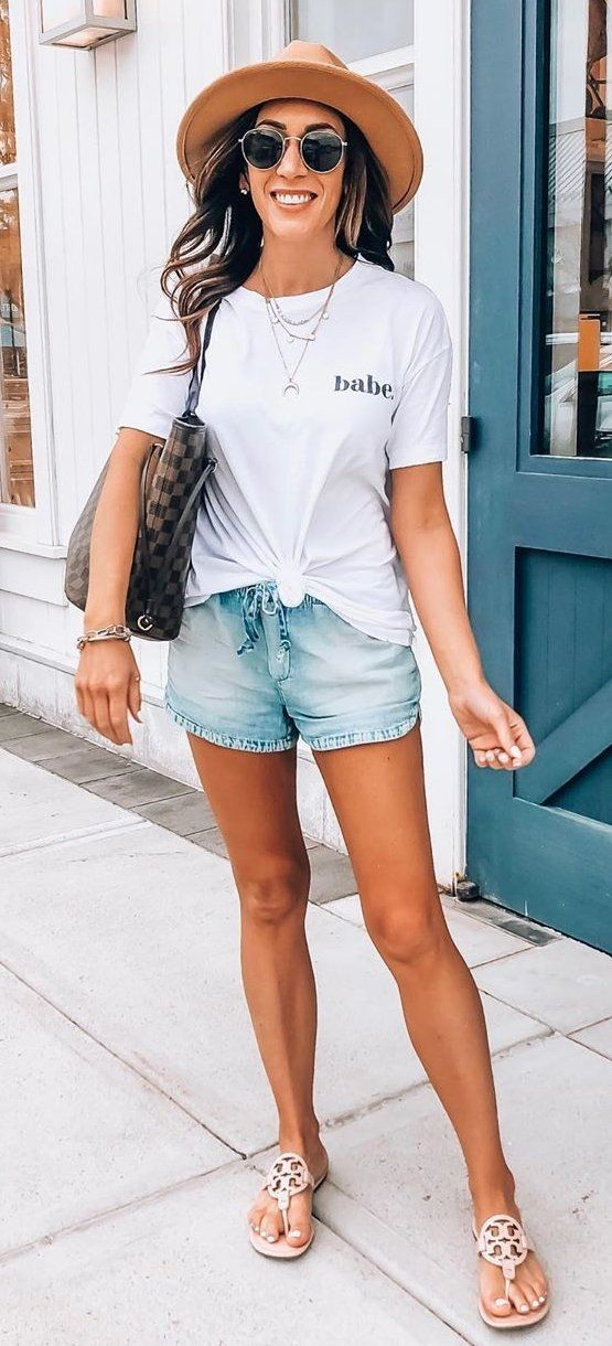 white crew-neck top and blue shorts #summer #outfits