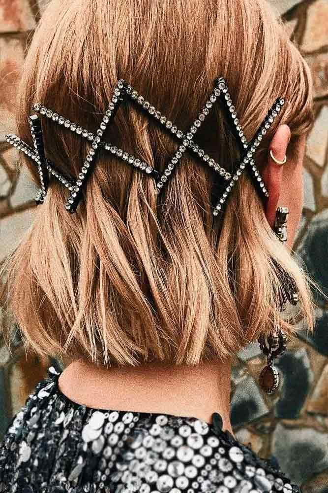 Chic Hair Styling With Pins #hairpins #chichairstyles ★ Sexy short hairstyles are the answer for those who wonder which type of haircut is the best. Forget about waking up earlier only to fix your hair! #glaminati #lifestyle  #shorthairstyles