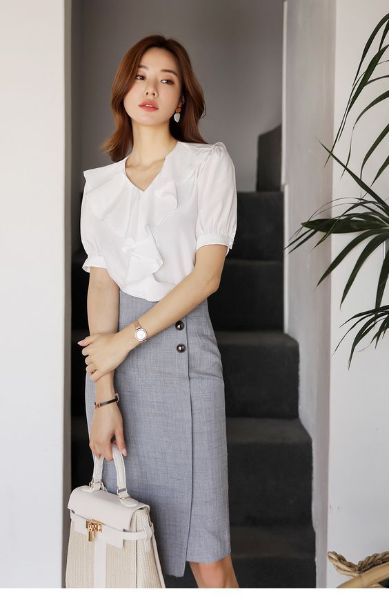 Simple white shirt and pencil grey skirt