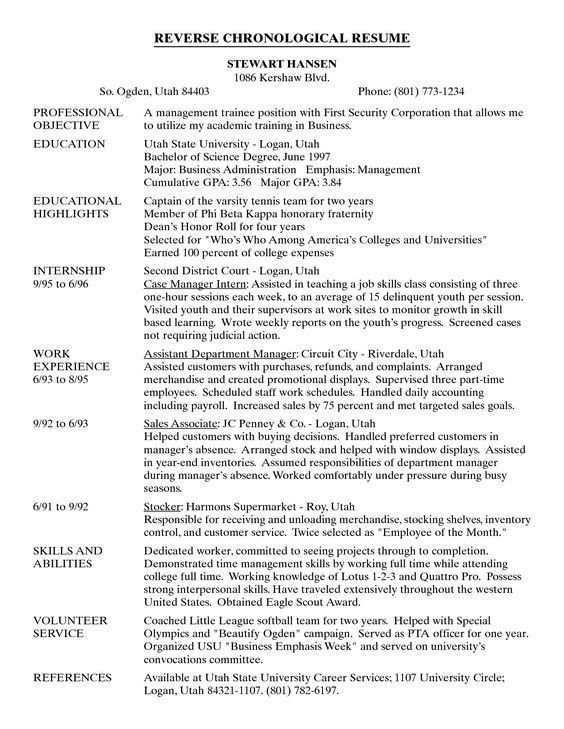 Examples Of A Chronological Resume Chronological Resume Template - example of a chronological resume
