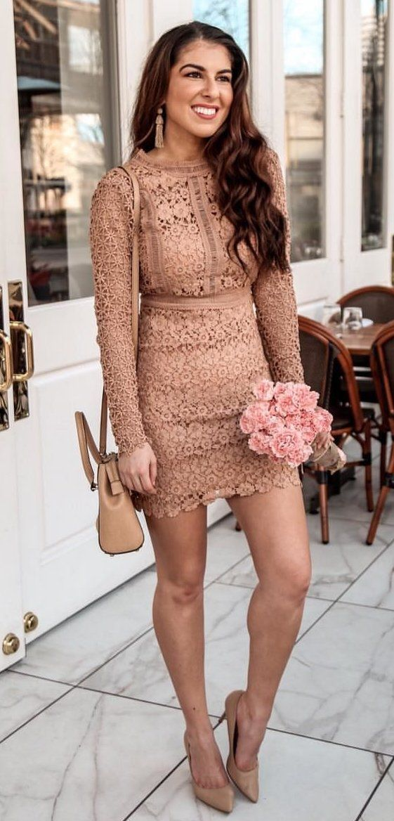 brown long sleeve mini dress #spring #outfits