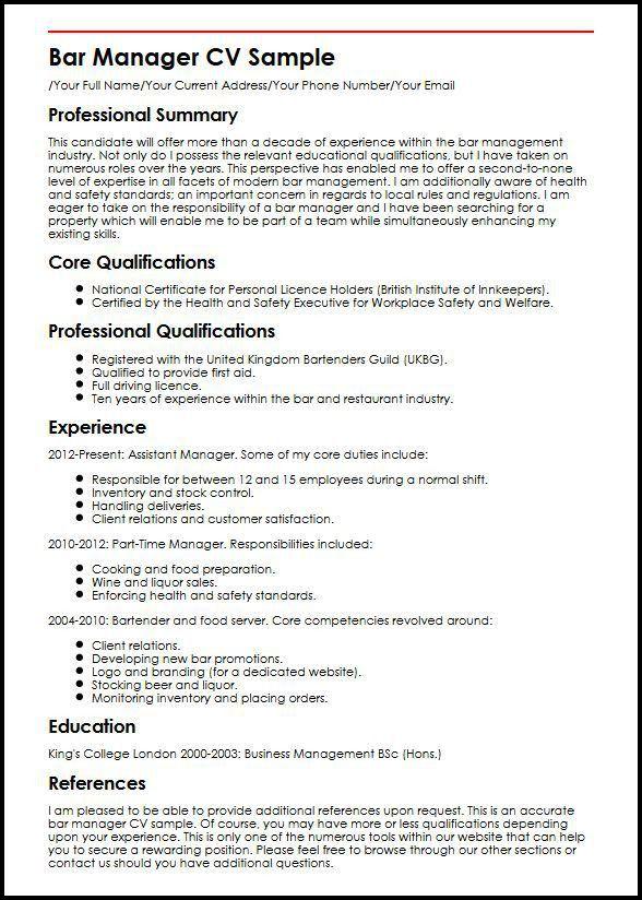Bar Manager Job Description Bar Manager Cv Sample Job Description - assistant manager job description resume