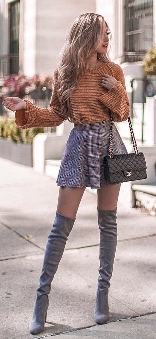 brown striped sweatshirt and purple plaid mini skirt #spring #outfits
