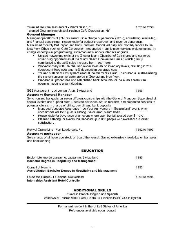 Resume Examples For Restaurant Jobs - Examples of Resumes