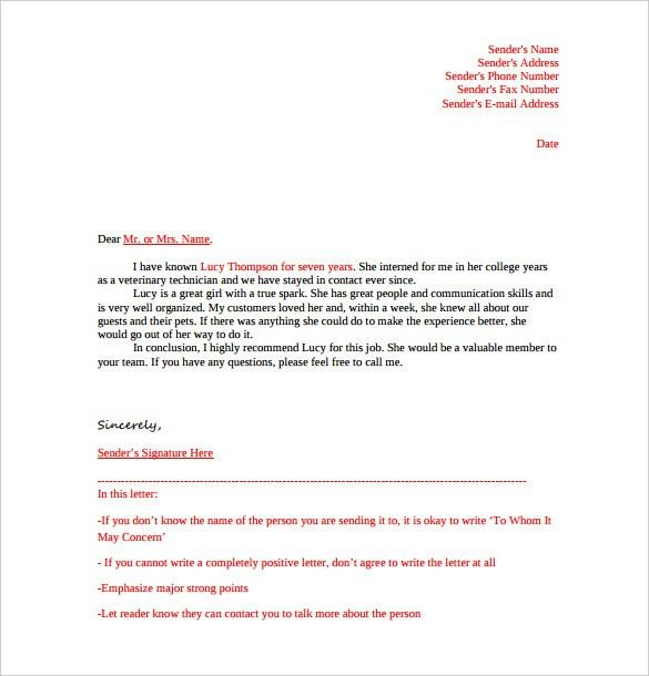 Letter Of Rec Template Download A Free Letter Of Reference - landlord reference letter