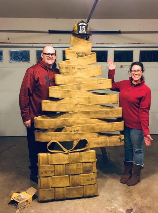 Chrsitmas tree made out of an old fire hose!!!