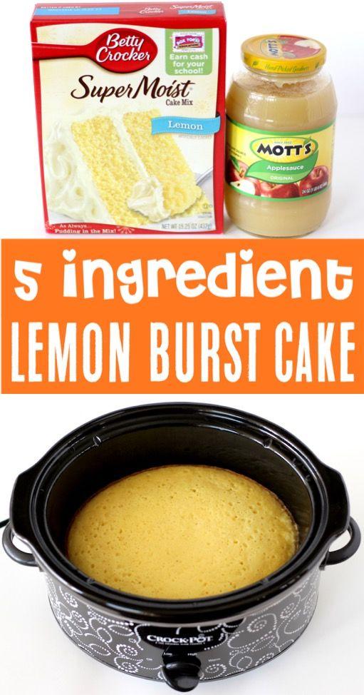 Lemon Cake Mix Recipe Using Cake Mix Boxes - Easy Crockpot Dessert! {Just 5 Ingredients}
