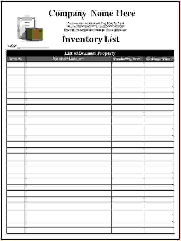 Inventory List Form Inventory List Templates Free Download - inventory list form