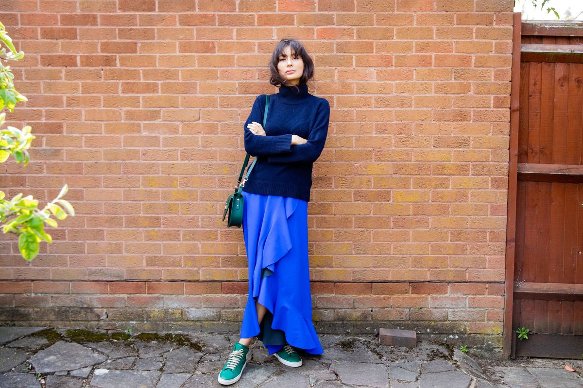 Jewel tones | Blake LDN jumper,  SDress skirt,  Paradise Row bag,  Yatay shoes | JasmineHemsley.com