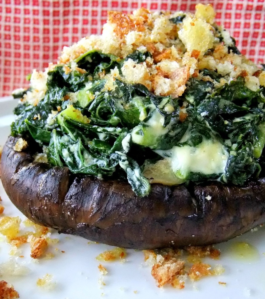 kale and goat chese stuffed portobella mushroom
