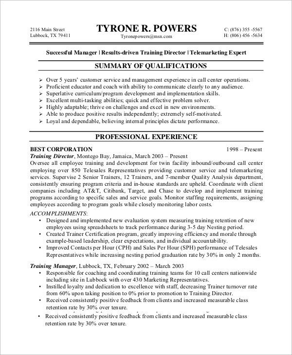 Tele Marketing Manager Resume Top 8 Telemarketing Manager Resume