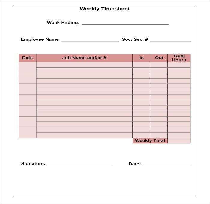 Time Sheet Format Timesheet Template Free Simple Time Sheet For - sample weekly timesheet