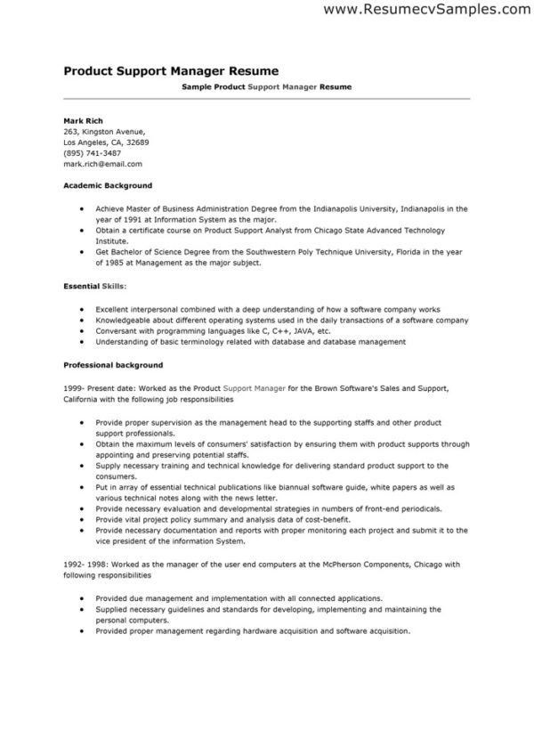 product support manager resume - zrom