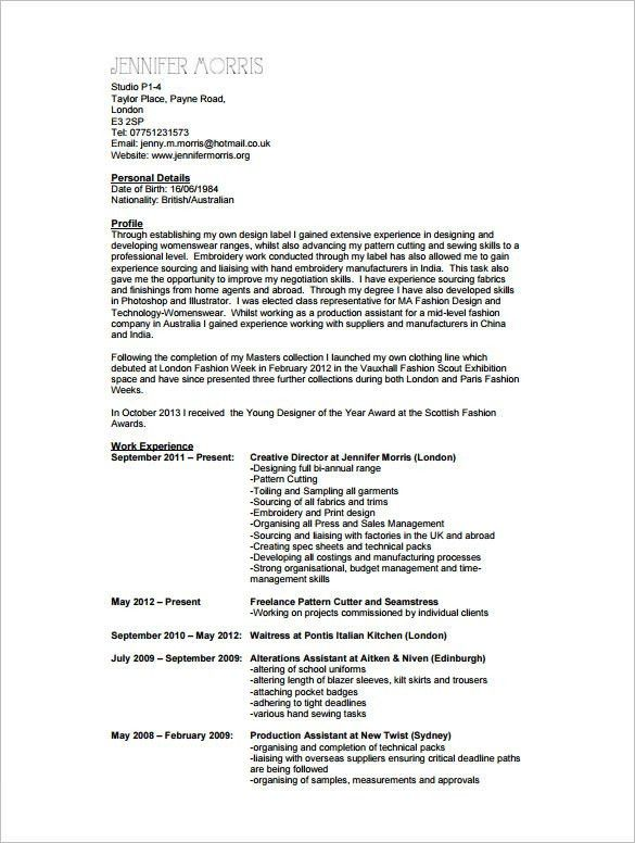 Fashion Resume Example Fashion Designer Resume Example Fashion