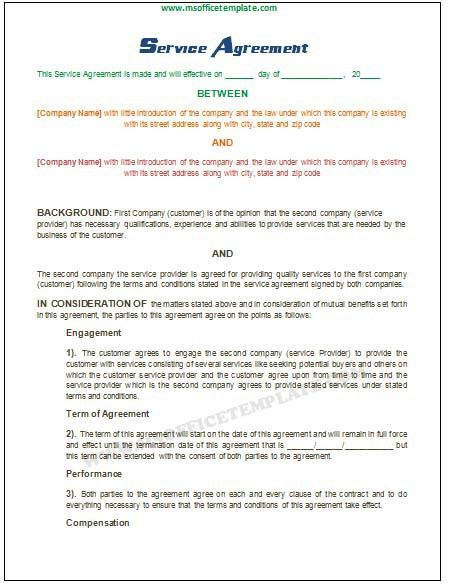 Service Contract Format Service Contract Template 8 Free Word Pdf - service contract form