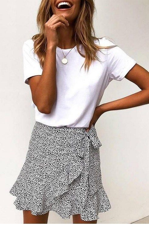 White top and printed mini skirt