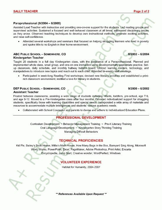 lead teacher resume