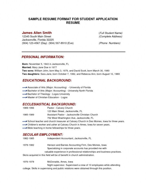 Examples Of College Application Resumes College Application