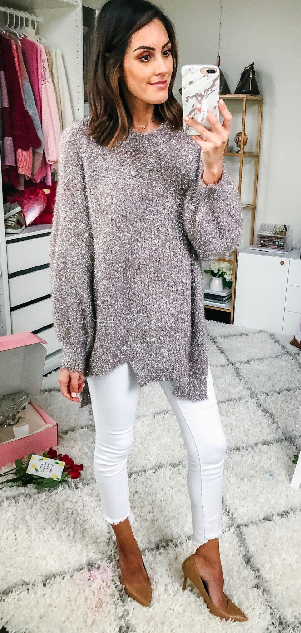 gray and white fur coat #winter #outfits
