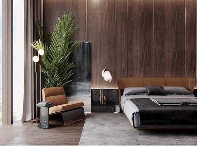 Zeitloses Schlafzimmer in dunkel braun Luxus wohnzimmer