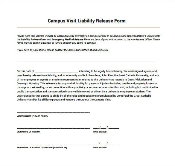 Liability Release Template Release Of Liability Form Waiver Of - vehicle release form