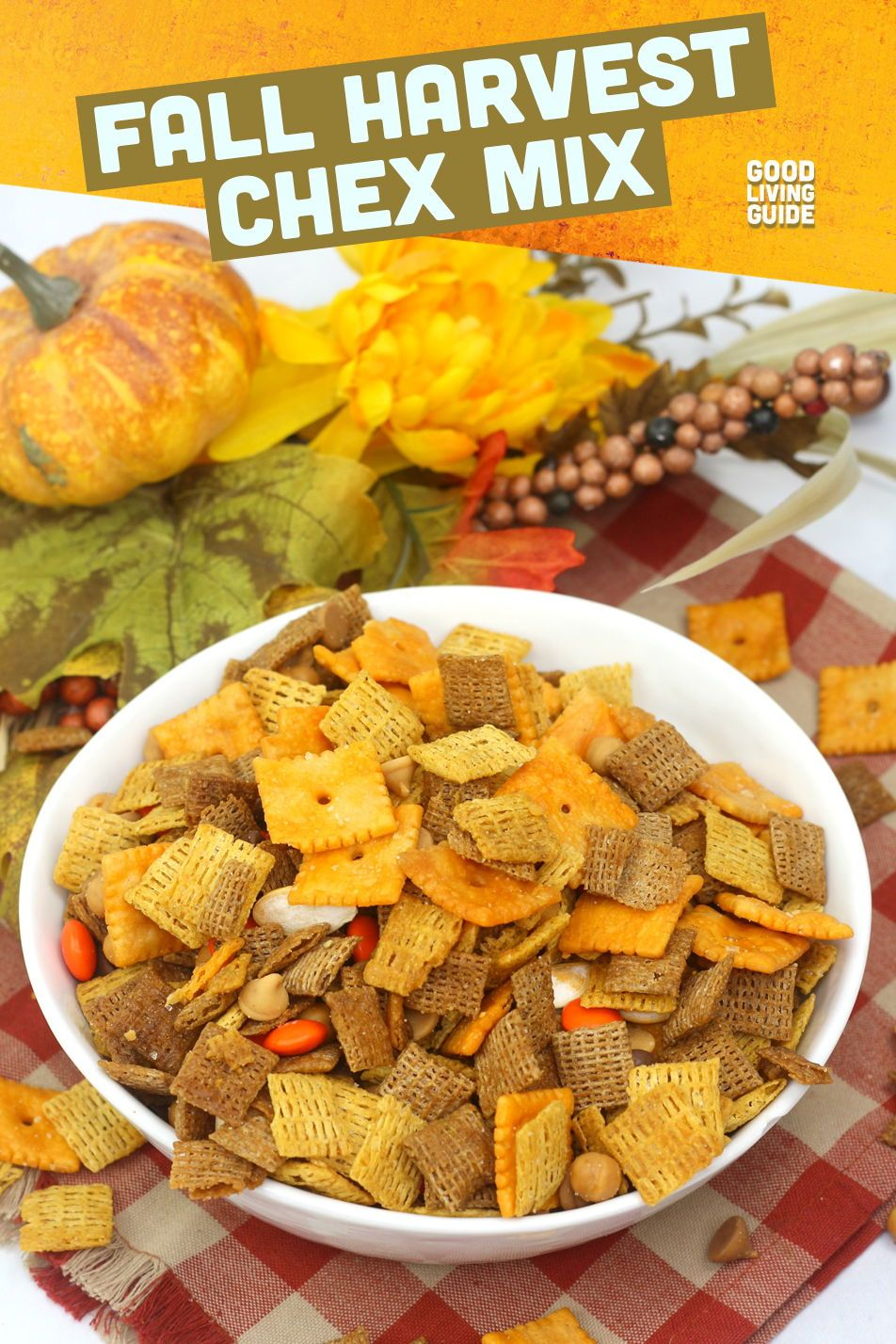 FALL HARVEST CHEX MIX takes a classic party mix and adds fall-friendly ingredients. 🍂