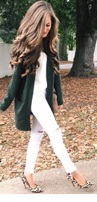 Sweet fall style with green cardigan and leo pumps