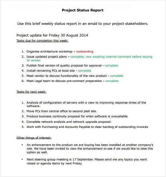 Sample Status Reports Sample Status Report 6 Documents In Word - purchasing report template