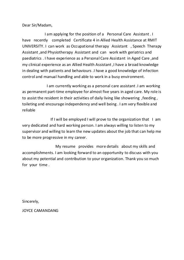 aged care cover letter assistant cv template job description - Aged Care Cover Letter