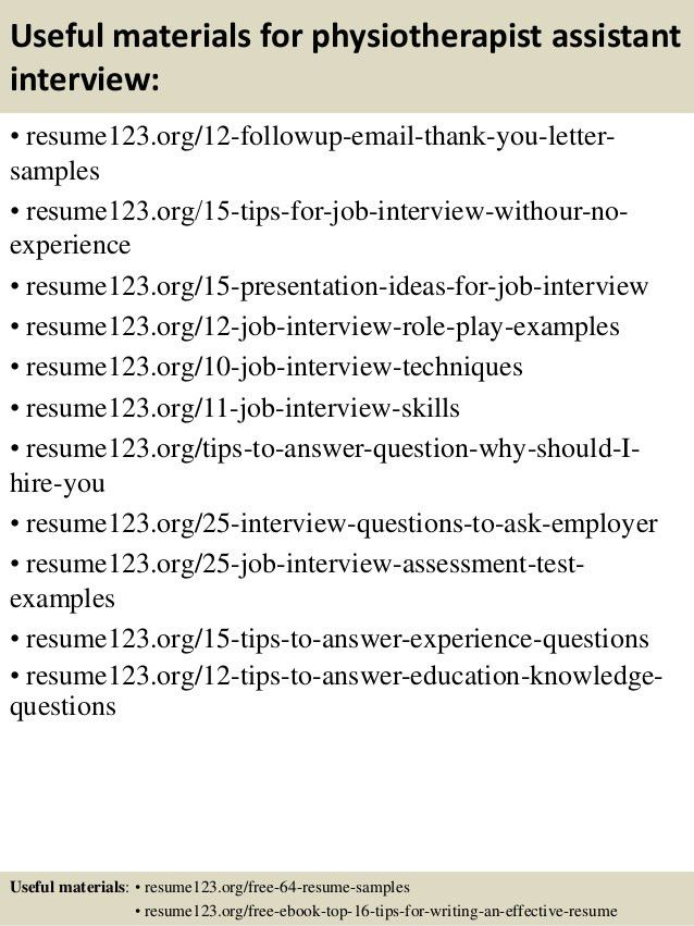 Assistant Physiotherapist Resume Physiotherapist Assistant